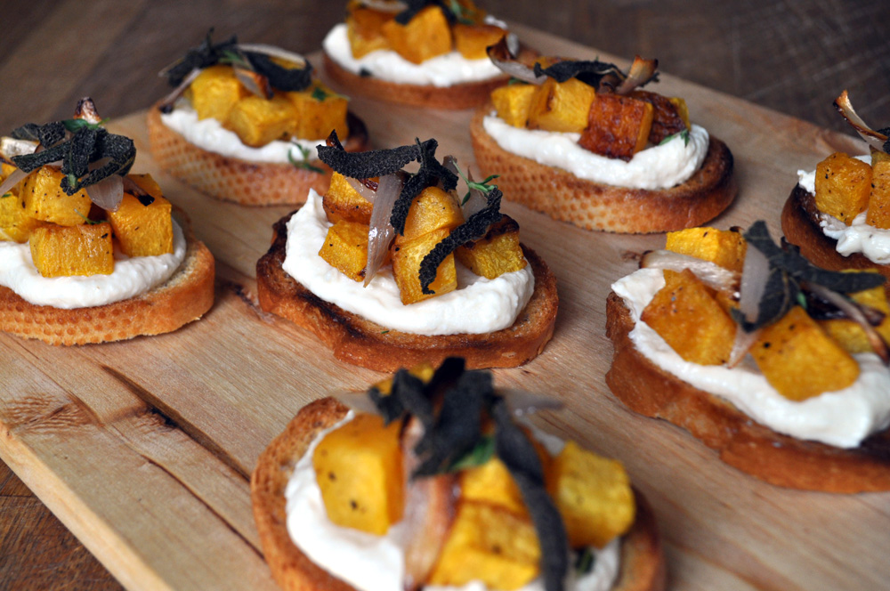 Butternut Squash, Ricotta and Fried Sage Crostini