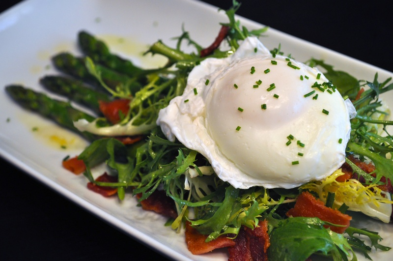 Poached Egg, Asparagus, Frisee and Bacon Salad