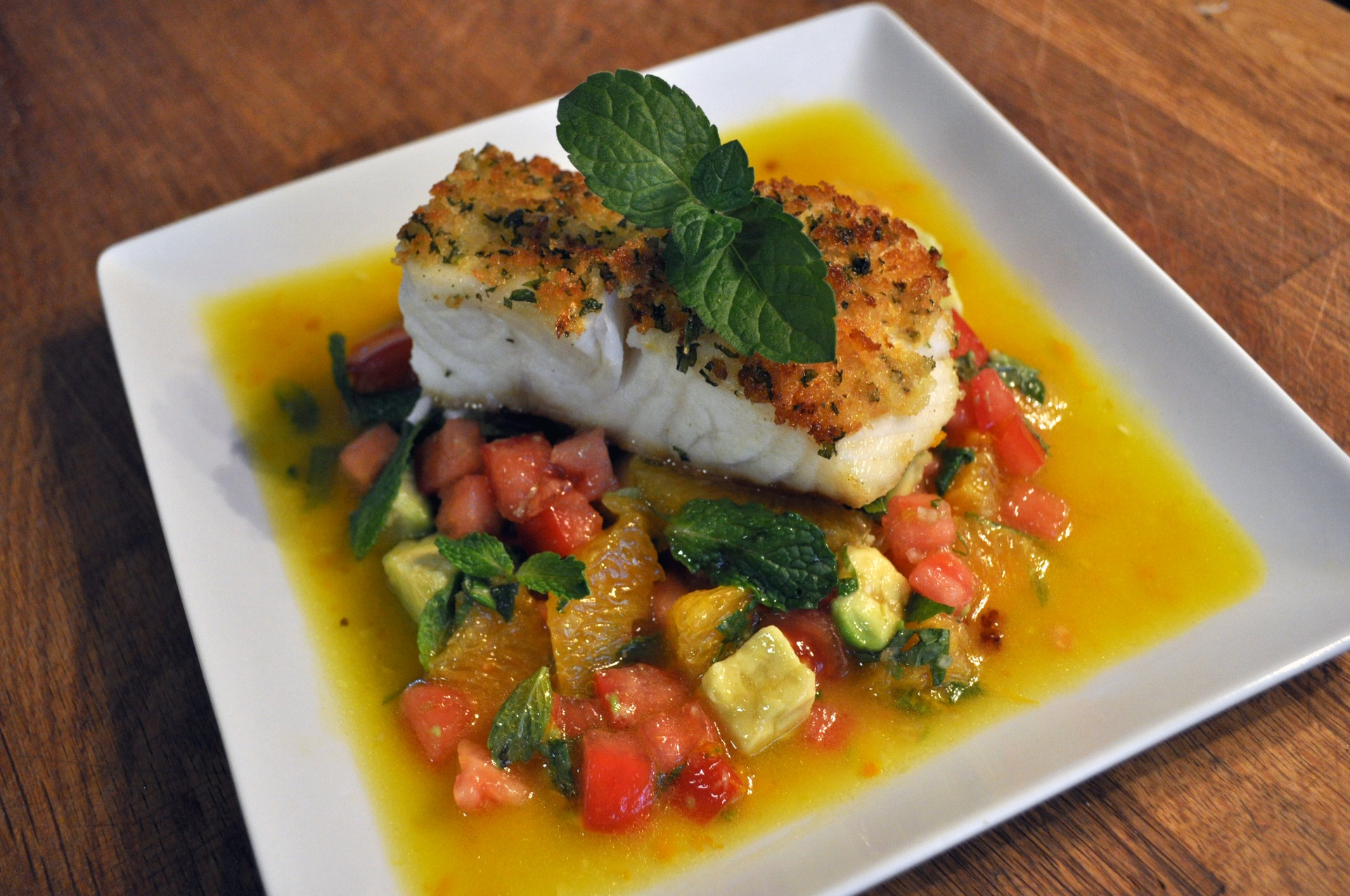 Pan Roasted Sea Bass with Orange Vinaigrette and Tomato, Citrus and ...