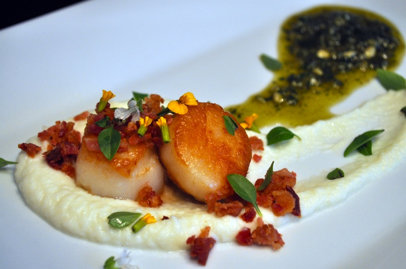... with Bacon Crumble, Cauliflower Puree and Tarragon Basil Pesto Oil